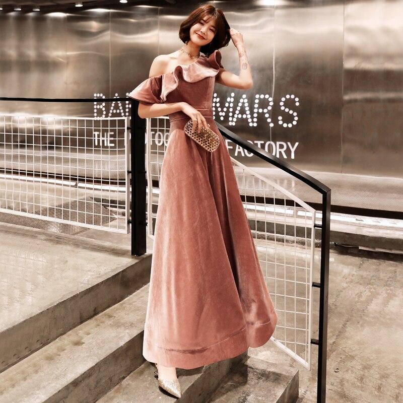 Weiyin 2019 nouveauté Sexy une épaule velours robes de soirée coupe courte formelle robes de soirée Robe Soiree WY1379 - 6
