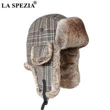 LA SPEZIA Russian Fur Hat Ushanka Men Women Bomber Ear Flaps Soviet Plaid Outdoor Soft Checkered Trapper Pilot