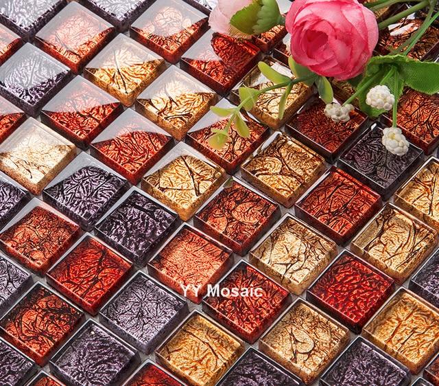 Lila Gold Rote Folie Glas Kristall Handwerk Mosaik Fliesen Küche  Backsplash, Bad Dusche Wand TV