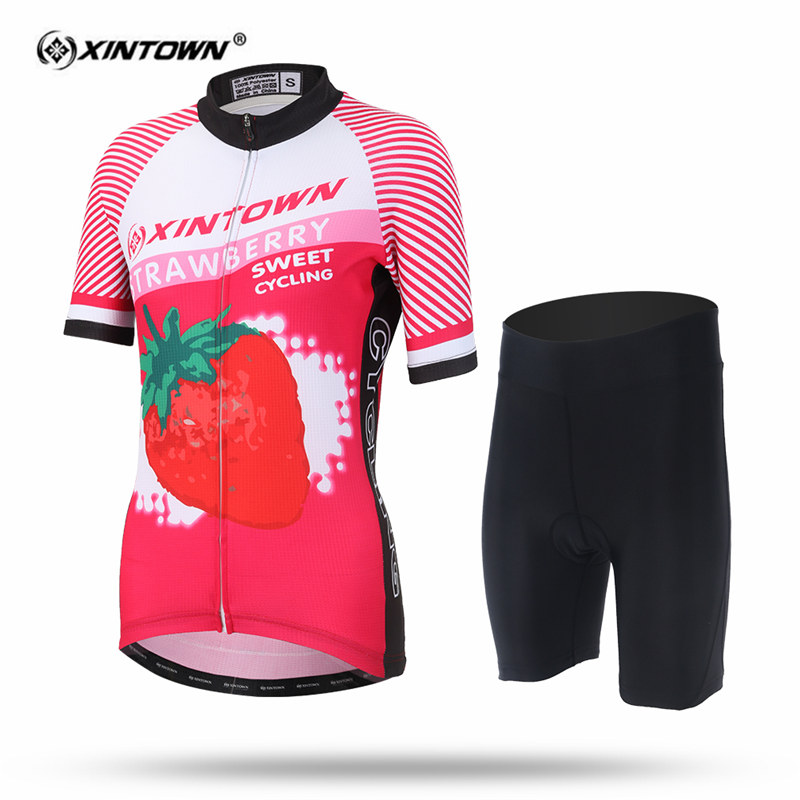XINTOWN Women Sweat Short Sleeve Cycling Jersey Set Strawberry MTB Bike Clothing Bicycle Jerseys Female Pro Road Clothes