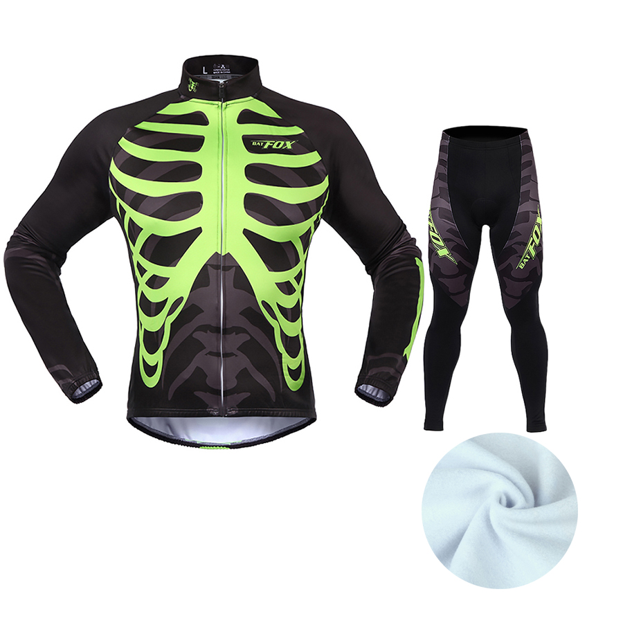 BATFOX Long Sleeve Cycling Jersey Sets Breathable 3D Padded Sportswear Mountain Bicycle Bike Apparel Skull Cycling Clothing