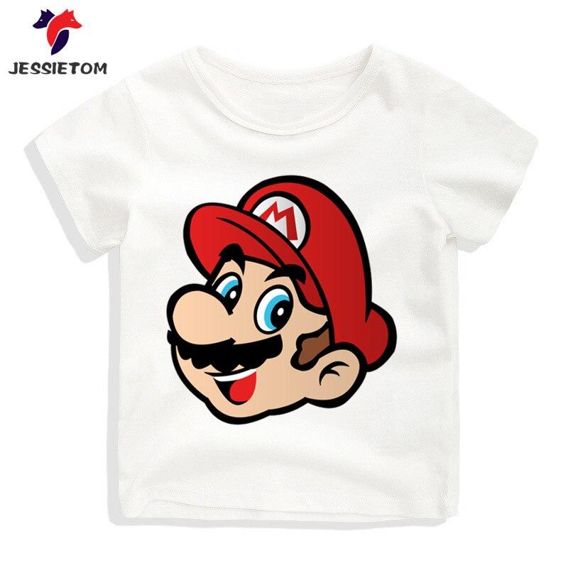 Baby Print Game Super Mario Head T-shirt Kid Summer O Neck Kawaii Tops Tees Boy and Girl Funny Clothes Baby Camisetas