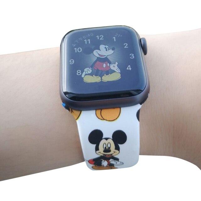 Спортивный силиконовый ремешок для Apple Watch 38 мм 42 мм 40 мм 44 мм мягкий ремешок с рисунком Микки из мультфильма для женщин и мужчин браслет для iwatch серии 4 3 2 1