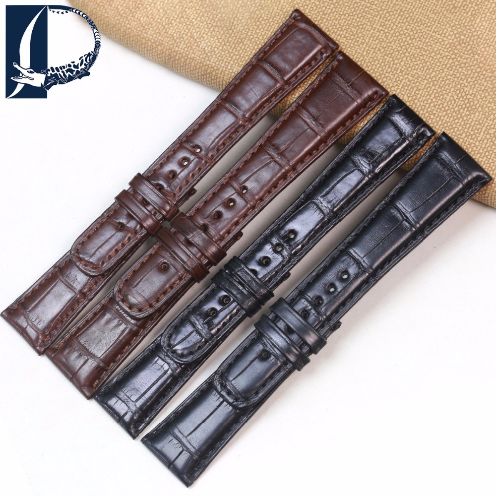 Pesno Suitable for A.Lange&Sohne 19 20mm Black Brown Genuine Leather Watchband Crocodile Leather Watch Strap Men Watch Accessory women crocodile leather watch strap for vacheron constantin melisa longines men genuine leather bracelet watchband montre