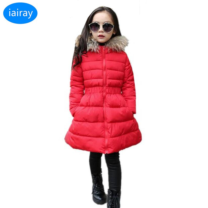 iairay girls winter red long coat fashion girl faux fur collar hooded jacket korean kids clothes thick warm parka girl outerwear mcckle women winter coat thick warm parka with big fur collar plus size fashion hooded cotton padded long puffer coat outerwear
