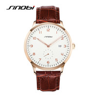 SINOBI Brand Men Brown Leather Quartz Watch Male Causal Date Quality Classic Wristwatches Luxury Waterproof Clock