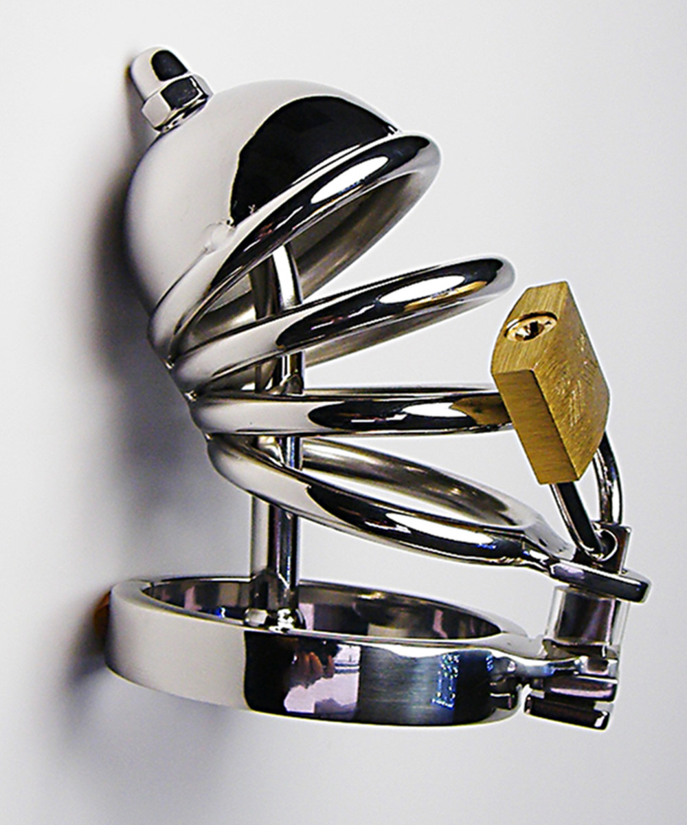 ФОТО Stainless Steel Cock Penis Cage With  Metal Catheter,Male Chastity Device,Fetish Sex Products Adult Toys For Men - AJ23