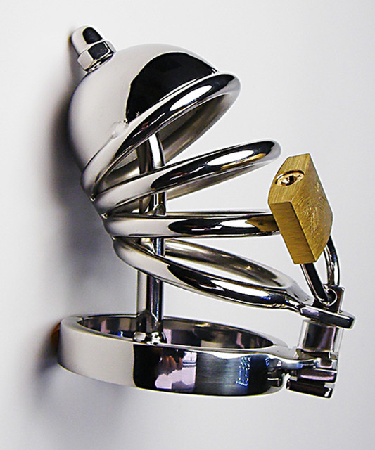 Stainless Steel Cock Penis Cage With  Metal Catheter,Male Chastity Device,Fetish Sex Products Adult Toys For Men - AJ23