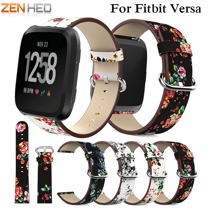 ZENHEO Watch Band Leather peony Print for Fitbit Versa Replacement Watch Accessories Wristbands Straps Bracelet Flower Strap