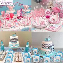 FENGRISE Elephant Cardboard Box Baby Shower Decorations Birthday Party decoration Kids Blue Pink Candy Bar Deco Wedding Decor