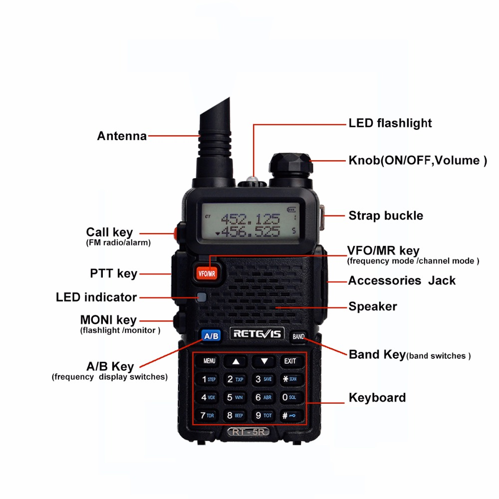 2PCS Retevis RT5R Walkie Talkie 5W 128CH VOX Scan UHF VHF Radio Station Dual Band Portable Ham Radio Two-way Radio for hunting
