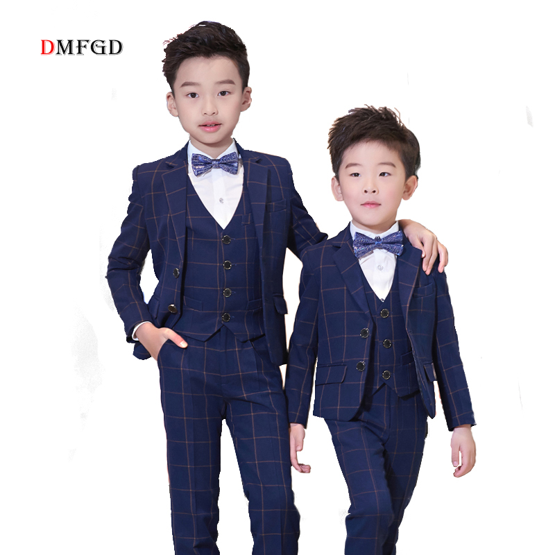5pcs High Quality Children suit plaid blazers jackets kids suits boys cotton teenager casual coat clothing child party costume цена 2017