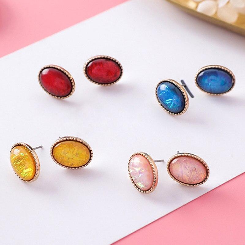 Роскошный разноцветный кристалл жемчужина австрийского овальные серьги простые геометрические серьги для Для женщин свадебные Шарм подарок ювелирных изделий