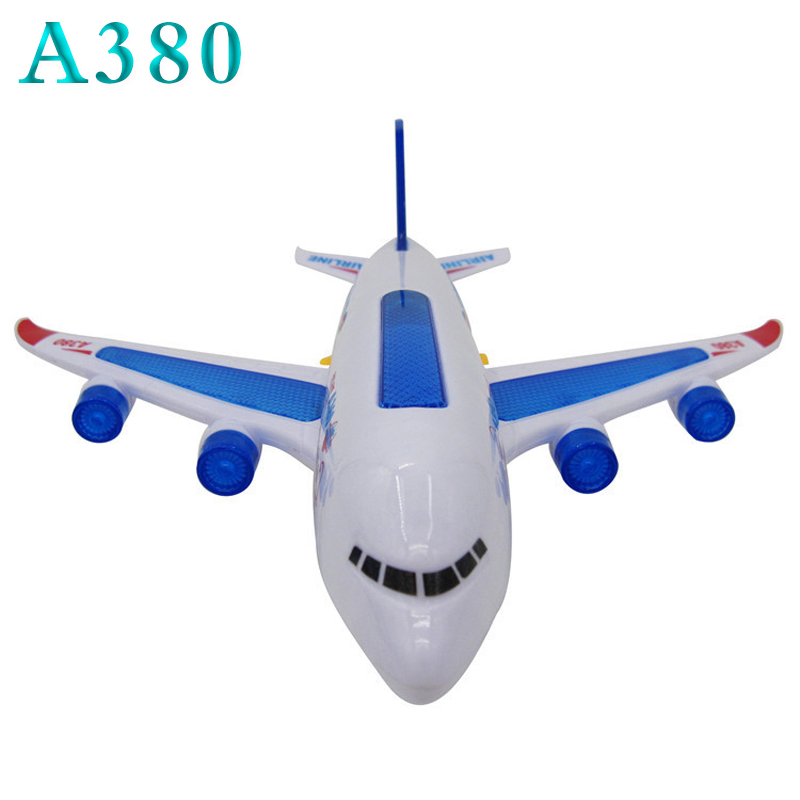 Flashing Sound Electric Airplane A380 Airplane Automatic Steering Light Music Airbus A380 Plane Model For Children Kid Toy Gift