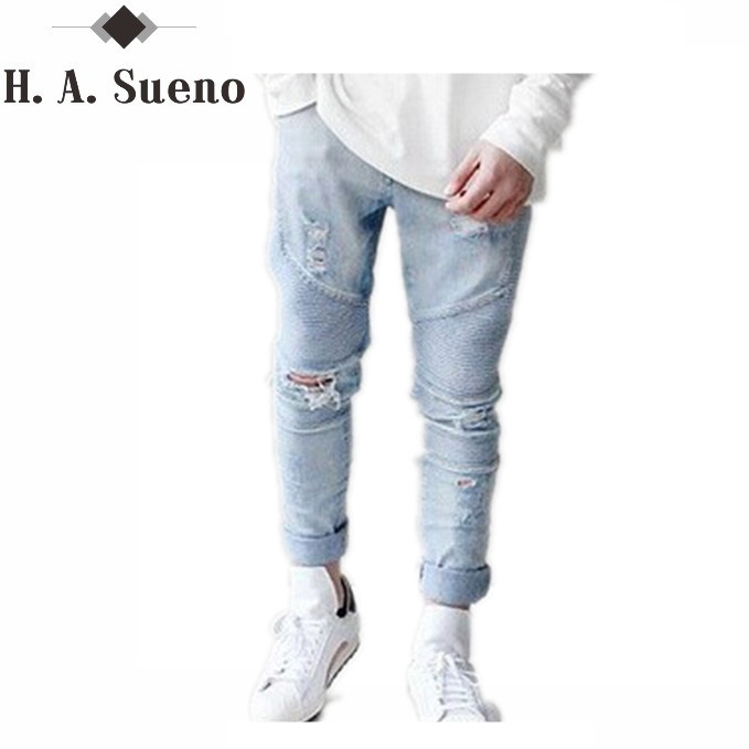 High quality men's jeans Casual straight black hole jeans men denim biker jeans Knee Ripped Jean For Men high quality men s jeans casual straight black hole jeans men denim biker jeans knee ripped jean for men