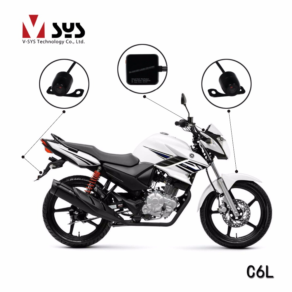 2017 factory price for Vsys official C6L economic version motorcycle DVR with waterproof D1 front and rear view camera economic methodology