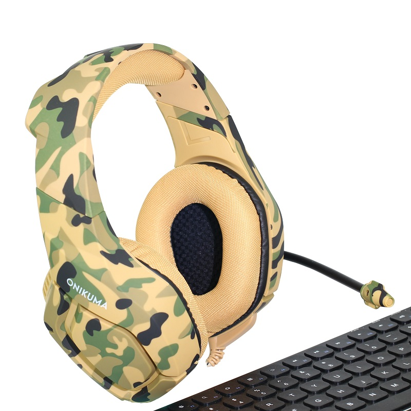 ONIKUMA K1 Tiefe Bass Gaming Headset <font><b>Camouflage</b></font> Noise cancelling-kopfhörer Gaming Kopfhörer für PC Handy Xbox One Laptop image