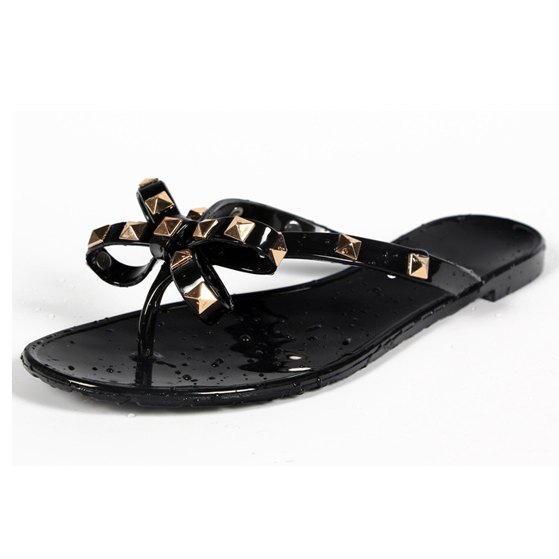 2ad04d60ecf8a New Summer Women Flip Flops Slippers Flat Sandals Bow Rivet Fashion Pvc  Crystal Beach Jelly Shoes-in Slippers from Shoes on Aliexpress.com