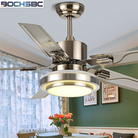 BOCHSBC Stainless Steel Ceiling Fan Light For Dininig Room Living Room Simple Modern Fan Light With LED Bulb And Wood Leaves