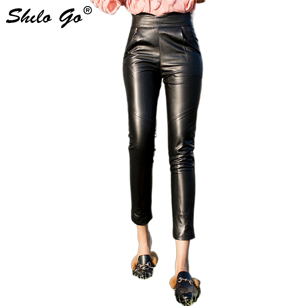 Streetwear Leather Pants Women Office Lady Asymmetry High Waist Sheepskin Genuine Leather Pencil Pants Casual Female Capris