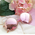 Rose Gold Cat Eye Sunglasses Women Brand Designer 2017 Diamond Circle Sun Glasses for Female Ladies Luxury Shades Reflective Len