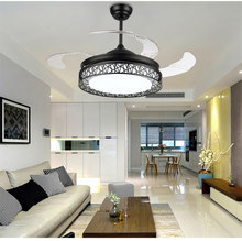 "ultra quiet 36"" 110-240v 24W*2 bicolor variable frequency electric motor invisible ceiling fans lamp Factory Outlet(China)"