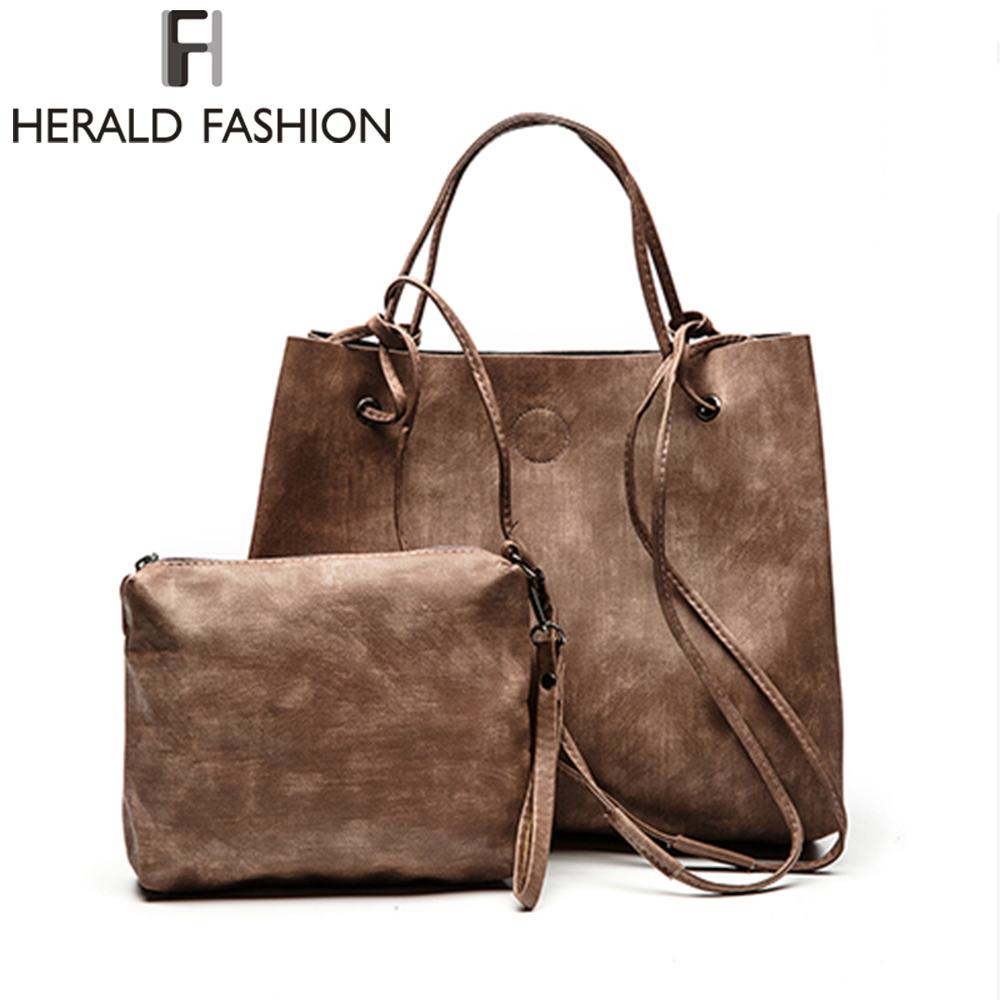 Herald Fashion PU Leather Casual Tote Women Shoulder Bag Luxury Large Capacity String Women Handbag Designer Solid Compsite Bag women large capacity casual tote luxury handbag genuine leather cowhide ladies shoulder bag fashion designer black shopping bag