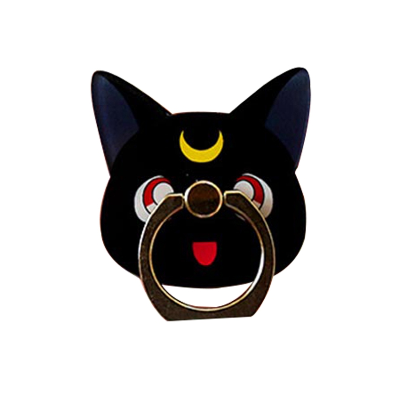 Anime Sailor Moon Crystal Figure 360 Degree Finger Ring Holder For Iphone For Ipad Luna Black Cat Mobile Phone Support