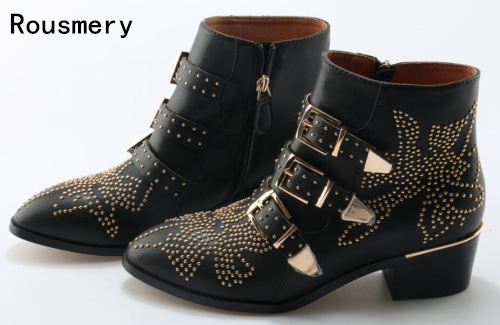 Hot Sale Spike Studded Short Ankle Boots Leather Round Toe Triple Buckle Strap Women Motorcycle Boots Shoes Low Heels Shoes 2015 buckle women full grain leather ankle boots platforms strange style shoes round toe spike high heeled motorcycle boots