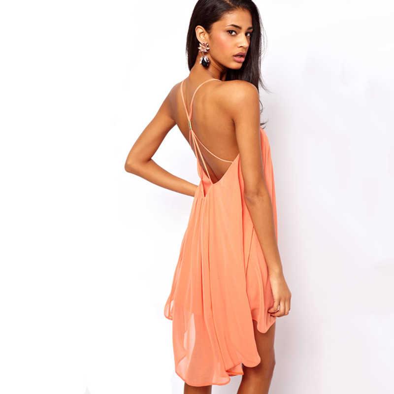HDY Haoduoyi 女性ソリッドノースリーブシフォンファッションドレスセクシーな背中非対称ドレスストリップ女性 Vestidos
