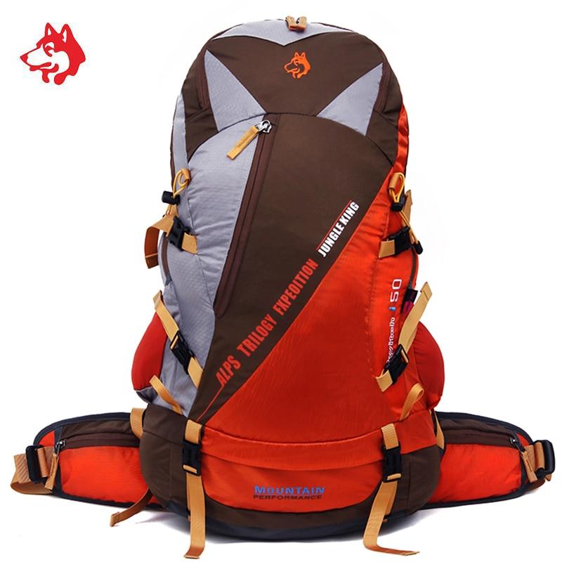 Famosa marca 50l mochila esporte ao ar livre caminhadas saco de acampamento multifuncional grande capacidade náilon caça travle mochilas