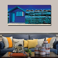unframed Mediterranean style Home Decoration HD Printed Canvas Painting Blue House Clear Scenery wall picture FA384