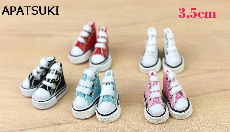 1Pair 3.5cm Canva Shoes For Blythe Dolls Causal Shoes For Barbie Doll House Mini Shoes For 1/6 BJD Fashion Doll Accessories