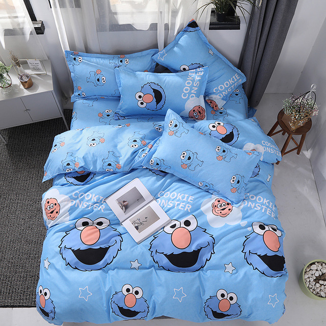 Bedding Set Cartoon cute cat mouse Star Trek 4/3pcs Duvet Cover Sets Soft Polyester Flat Bed Sheet Set Pillowcase Home Textile