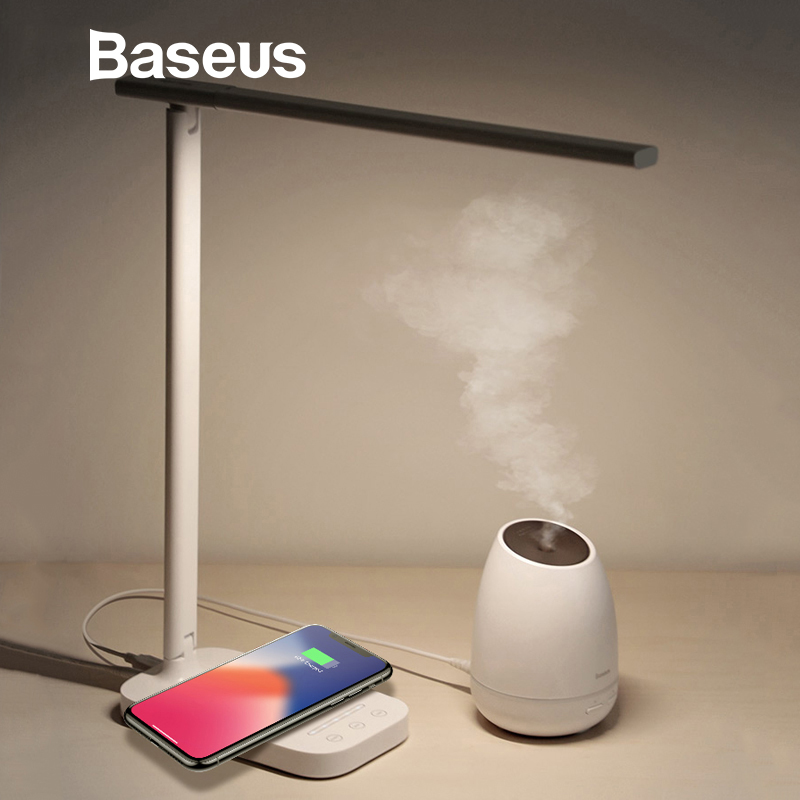 Baseus Lamp Qi Wireless Charger for Phone XS Max X Foldable Table Desktop Desk LED Light Fast Wireless Charging Pad for Samsung new garmin watch 2019