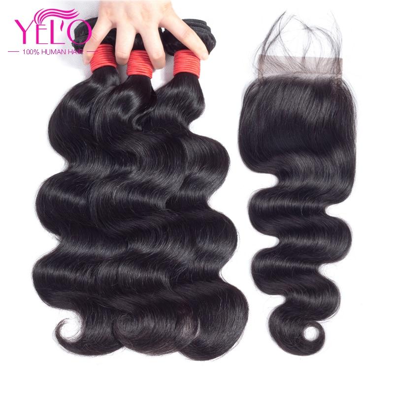 Yelo Brazilian Hair Weave 3 Paquetes con cierre de encaje Body Wave - Cabello humano (negro)