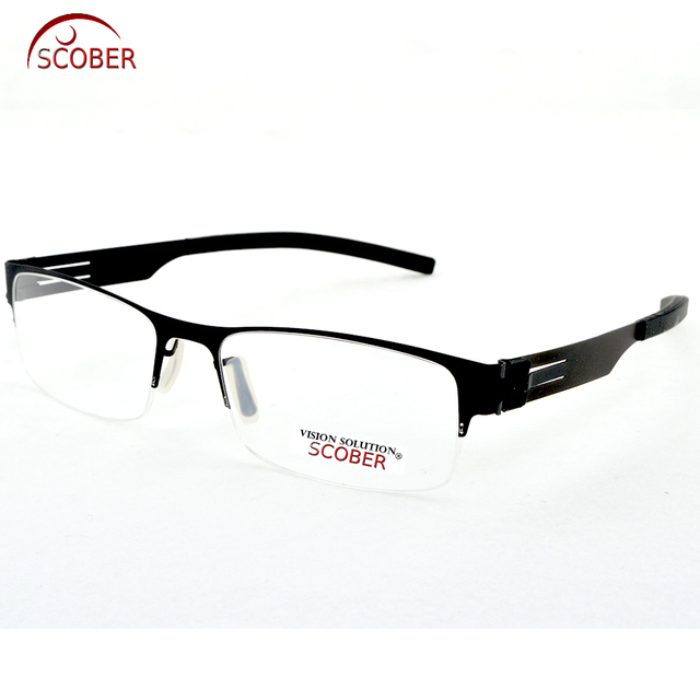 fbd5f7a0e0b SCOBER   Design No screws welding Half-rim Reading Glasses Trigeminal Legs  Anti-fatigue Coated Lens +1 +1.5 +2 +2.5 +3 +3.5 +4