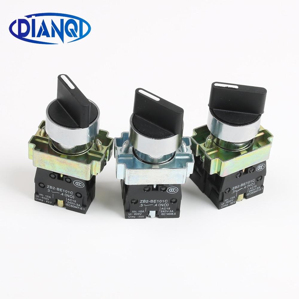 XB2-BD21 BD25 BD33 BD53 BD73 1NO/2NO/1NO1NC 2/3 Position Latching Self-locking Selector Push Button Switch Momentary Self-Reset