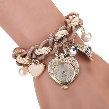2018 Fashion Bracelet Watch Women's Watches Female Heart Pendant Clock Women Diamond Wrist Watch Reloj Mujer Clock