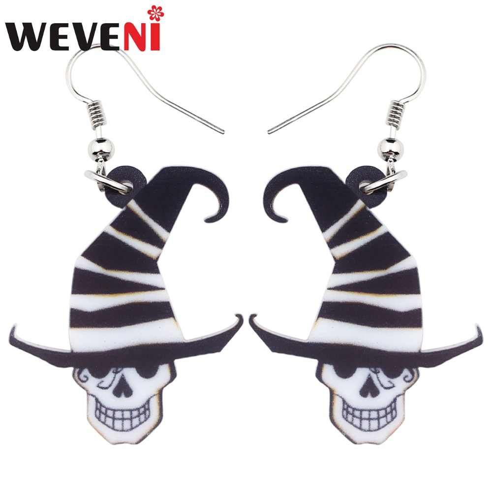 WEVENI Acrylic Halloween Joker Hat Skull Earrings Dangle Drop Big Long Fashion Punk Jewelry For Women Girls Ladies Teens Bulk