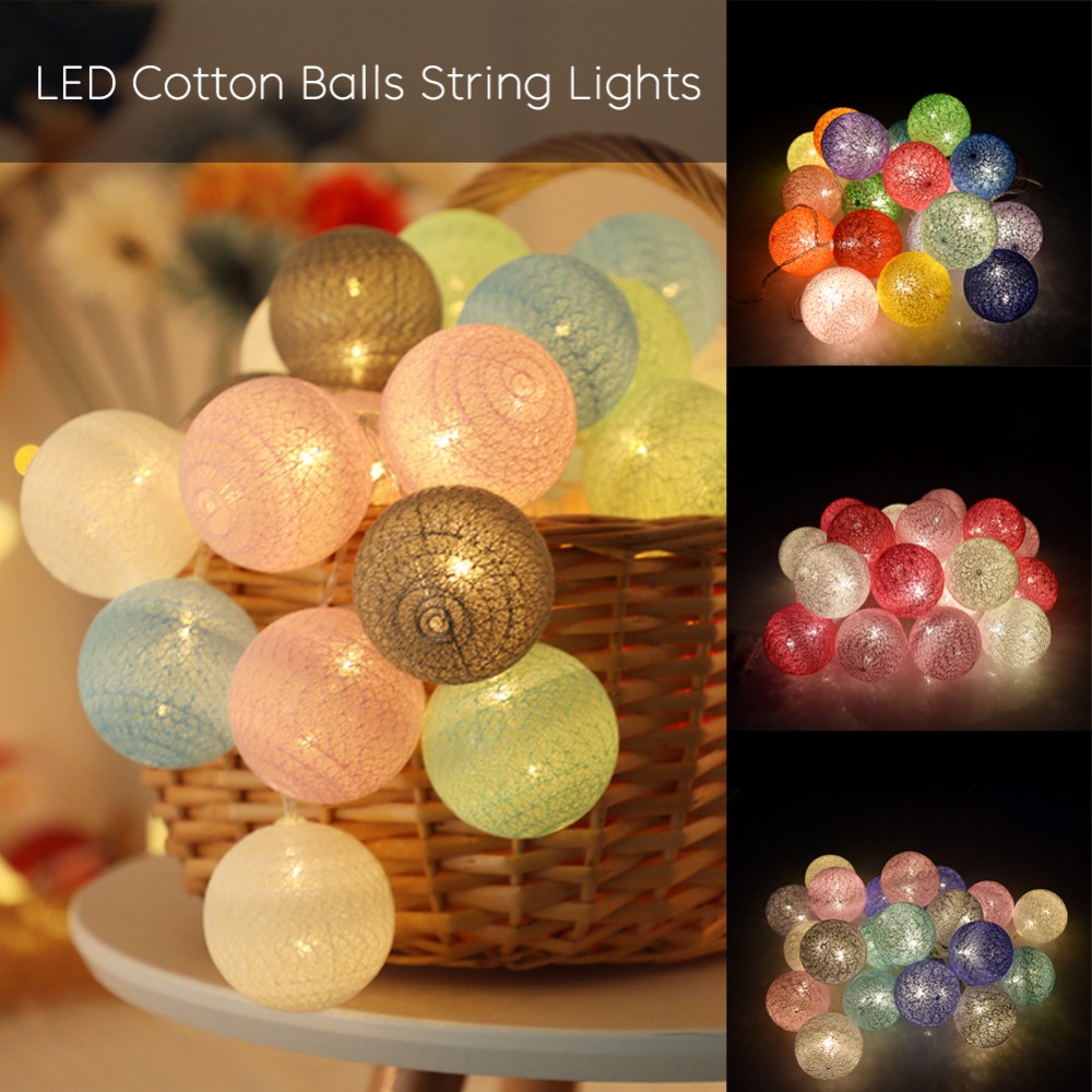 Room LED Garland Cotton String Balls Lights DIY 6CM Cotton Ball Light Chain  Fairy LED Lights Birthday Gifts Party Decoration