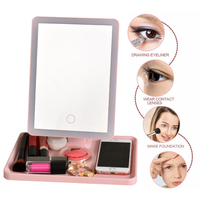 360 Degree Rotation Makeup Mirror With Led Light Mirror With Suction Cups Vanity Mirror Light Makeup Accessories