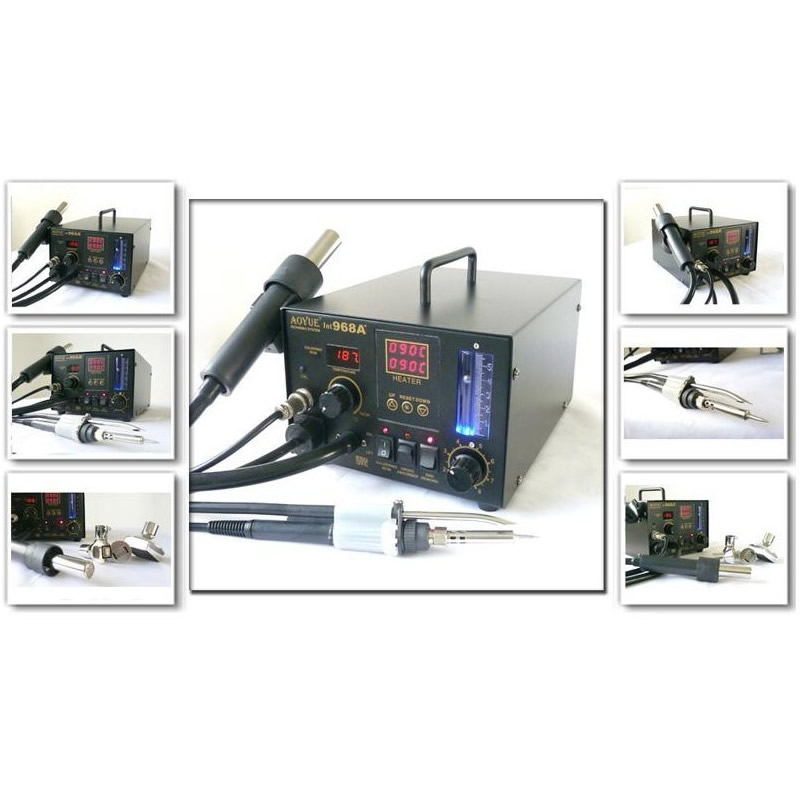 Newest AOYUE 968A+ SMD soldering station Multi Function repairing system Hot Air Gun, Soldering Iron Smoke Absorber 3 in 1