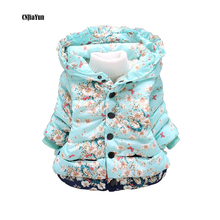 CNJiaYun Baby Girls Jacket Winter Warm Flower Pattern Hooded Kids Coats 100% Cotton Thick Girl's Outerwear Children's Clothing
