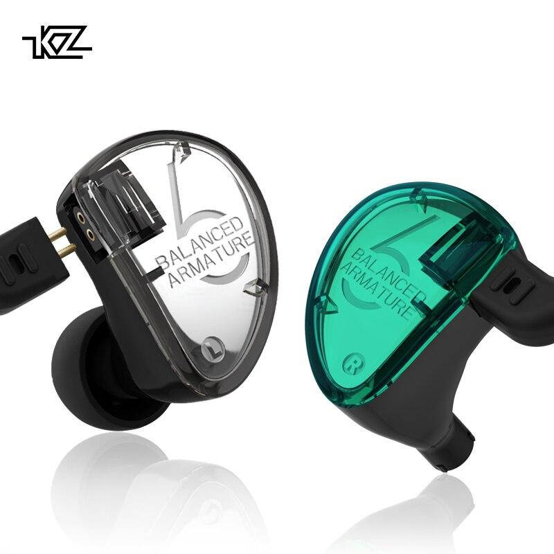 KZ AS06 3BA Armadura Balanceada Driver de Graves de ALTA FIDELIDADE Fones De Ouvido Em Ouvido Fones De Ouvido Monitor de Esporte Fone de Ouvido Com Cancelamento de Ruído Fones de Ouvido Verde