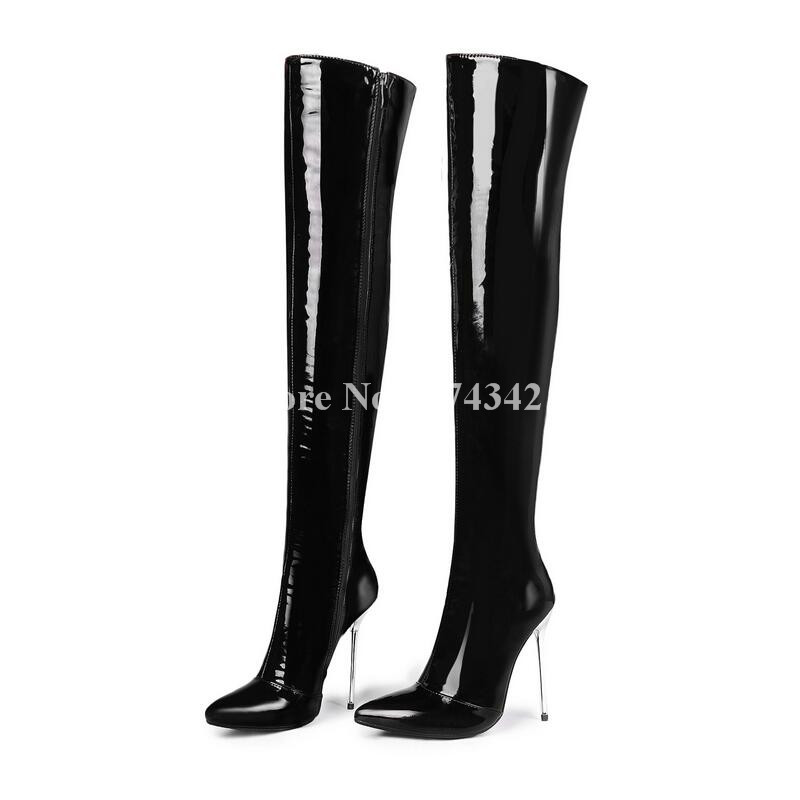 6341b92aa50 2018 Hottest Patent Leather Over-The-Knee Sexy Pointed Thin High Heel  Autumn Winter Side Zipper Women Boot High Quality