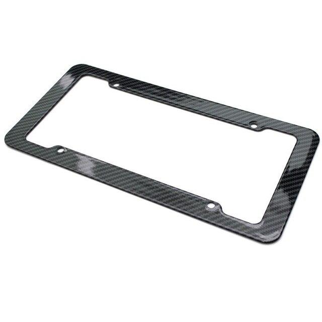 Universal Black Car Carbon Fiber License Plate Frame Car License ...