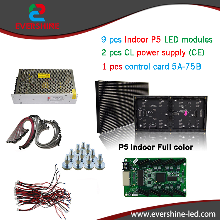 Diy kits a led display 9pcs P5 led full color module+1pcs control card 5A-75B + 2pcs CL power supply A-200-5 with CE qualivation  led tower display rhythm lamp with infrared remote control electronic diy kits soldering kits diy brain training toy
