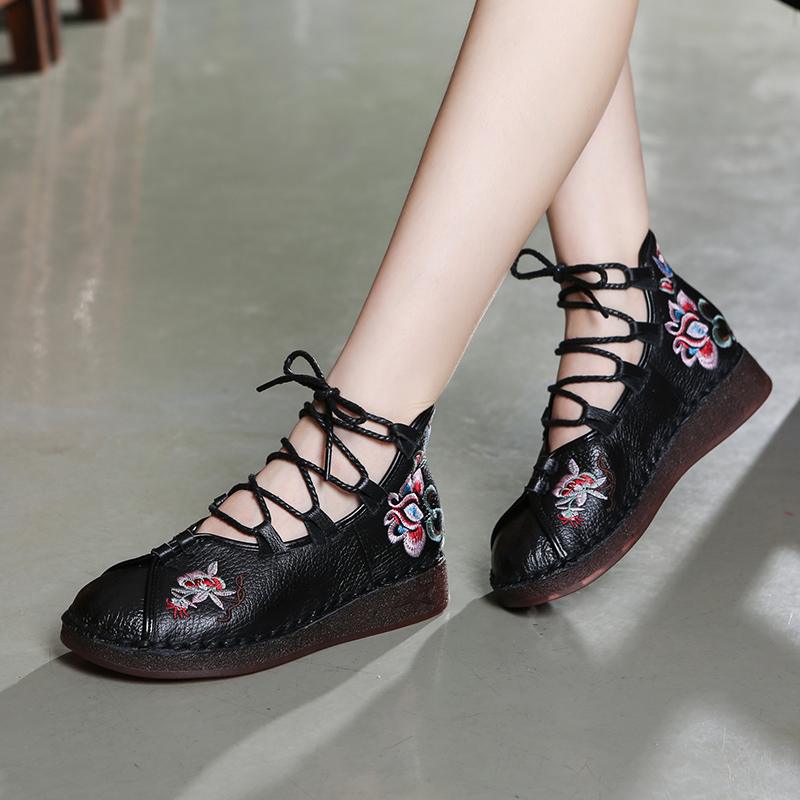 Women Genuine Leather Ankle Boots Lace Up Fashion Low Heels Autumn Shoes Embroidery Soft Leather Boots