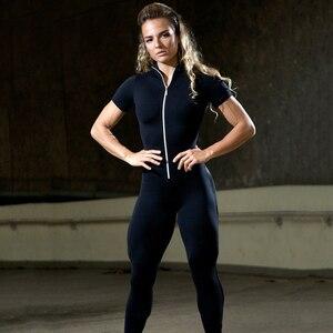 Image 3 - Chándal de manga corta con cremallera para mujer, ropa deportiva, ropa de entrenamiento, conjunto deportivo sin costuras, conjunto de Yoga elástico